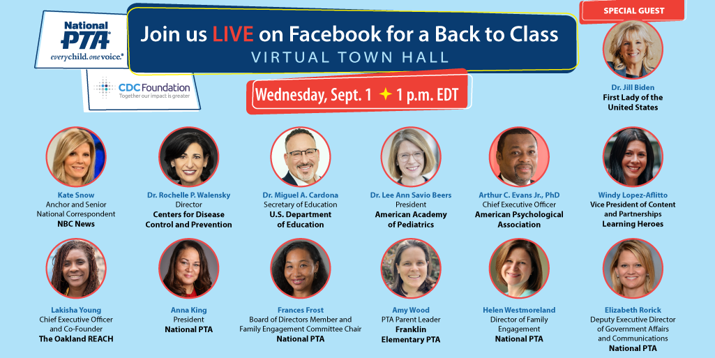 Join us LIVE on Facebook for a Back to Class Virtual Town Hall Wednesday, Sept. 1 at 1 p.m. EDT